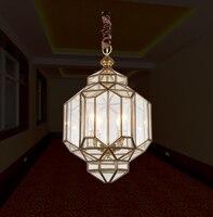 Европейский стиль простой столовой Открытый Подвесные Светильники Droplight Американский простой Гостиная Исследование медь лампы и фонари
