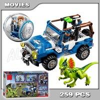 259Pcs Bela 79093 Jurassic World Dino Park Dilophosaurus Ambush Model Building Blocks Action dinosaur Toys Compatible with Lego