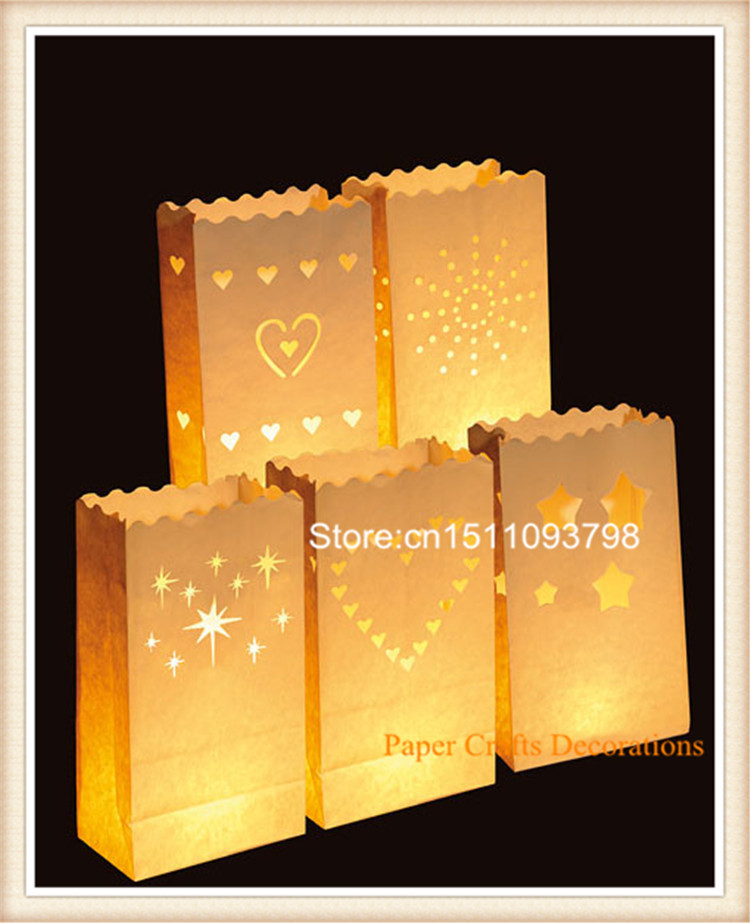 100pcs/lot illuminating Candle bag Paper Tealight Garden Bags for wedding party decoration Christmas decorations 9*15*26cm