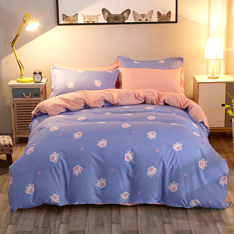 Purple and pink Footprint cartoon kids bed set ropa cama queen size bed sheets set bed covers and comforters covers flat sheet