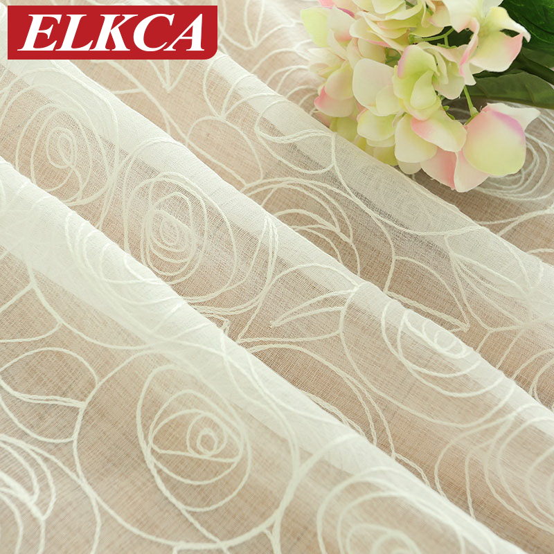 Endless Embroidered White Tulle Curtains for Living Room European Faux Linen Sheer Curtains for Kitchen Modern Window Curtains