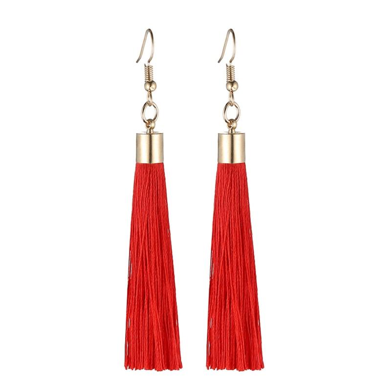 LOVBEAFAS Fringe Tassel Earrings For Women Gold Color Vintage Long Drop Dangle Earrings Fashion Wedding Jewelry Party Gift