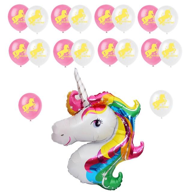 438 Zljq Rose Licorne Partie Ballon Kit Décoration Enfants Joyeux Anniversaire Lettre Chaîne De Ballon Bannière Bébé Shower Party Supplies