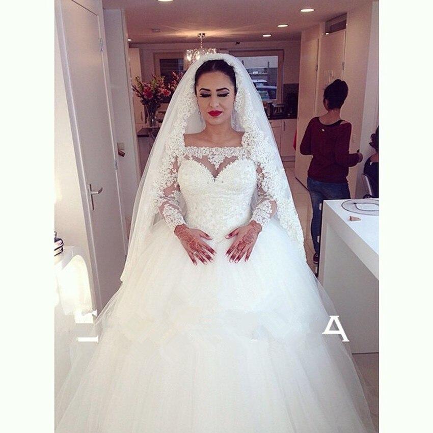 2015 Manches Longues robe de Bal Robes De Mariée Arabe Off Épaule Robe De Mariée Robe