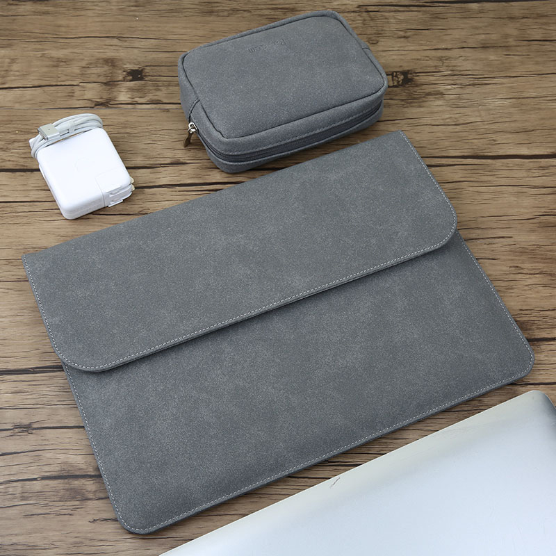 Matte Magnetic Buckle PU Laptop Sleeve Bag For Xiaomi Macbook Pro 13 Case Air 11 12 Retina 2018 New 15 Touch Bar Women Men Cover image