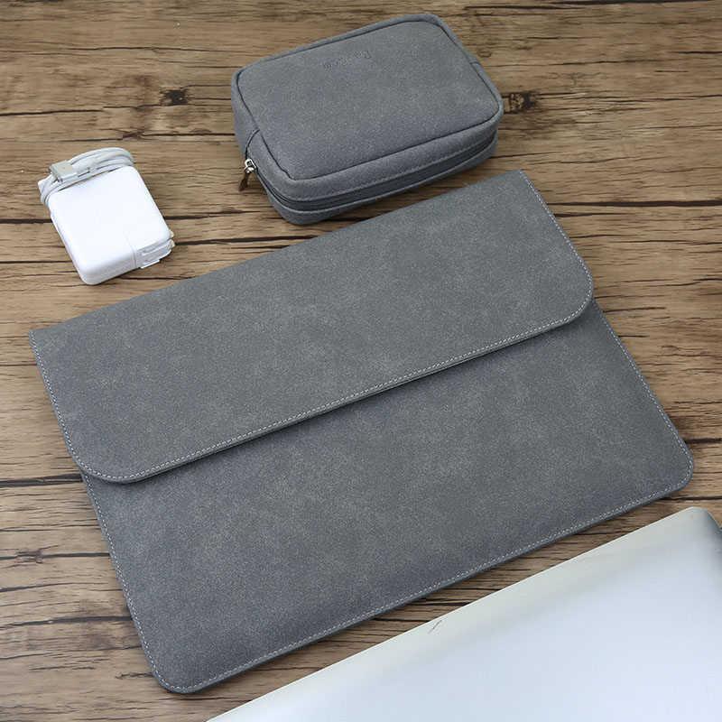 Matte magnetic buckle pu bolsa de manga portátil para xiaomi macbook pro 13 caso ar 11 12 2020 novo 15 16 touch/id bar capa masculina