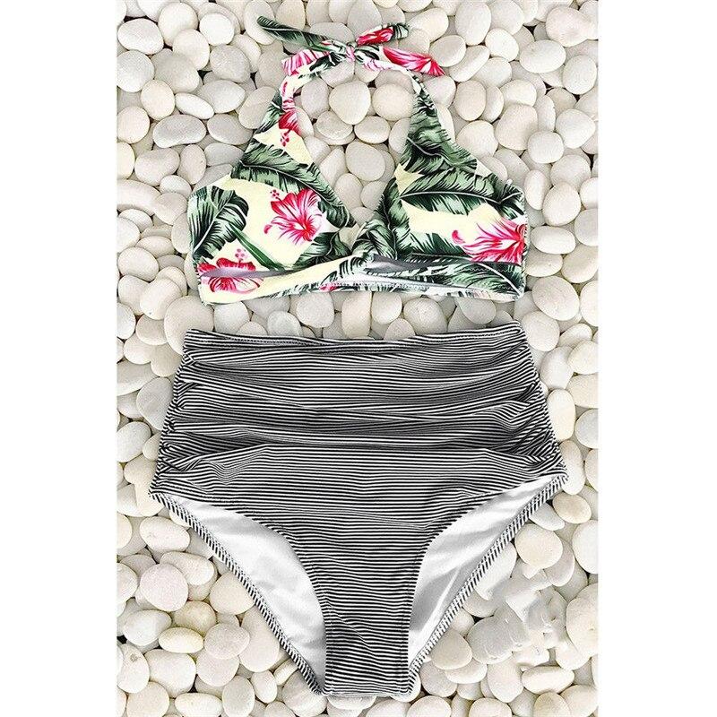 Womens High Waist Padded Up Bikini Set 2018 Ladies Push-Up Swimwear Bandage Striped Print Swimsuit Beachwear Bathing Suit Free