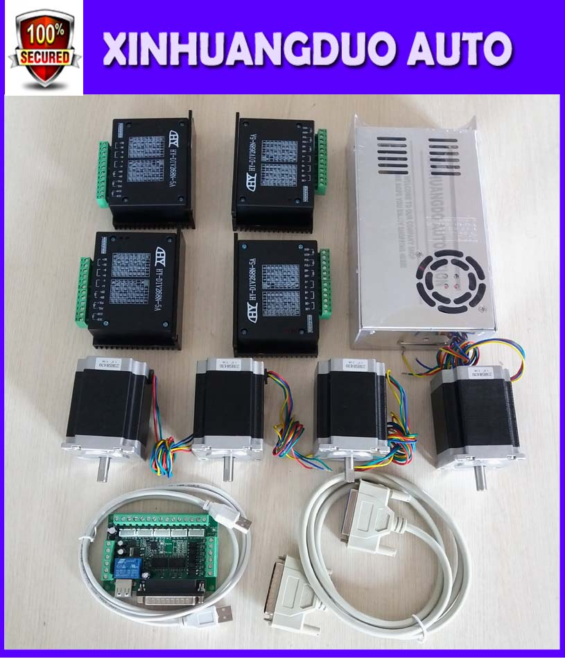 CNC Router Kit 4 Axis, 4pcs 1 axis TB6600 driver +one interface board + 4pcs 76mm CNC Nema 23 stepper motor + one power supply