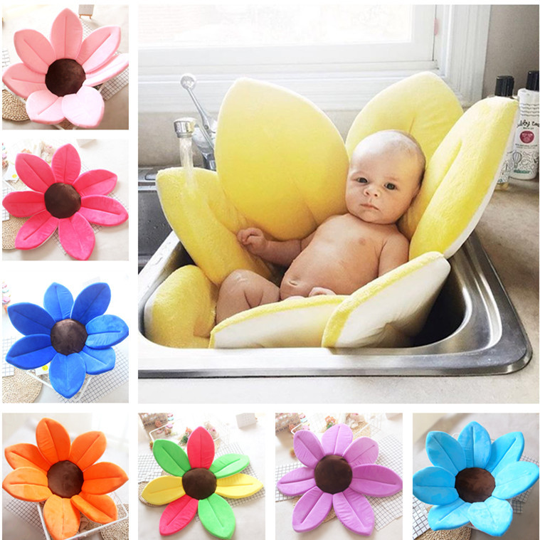 Smartlife 80*80CM  Baby Flower Bath Mat Net Anti-slip Sponge Mats Infants Shower Folding Seat Colourful Blooming Cushions