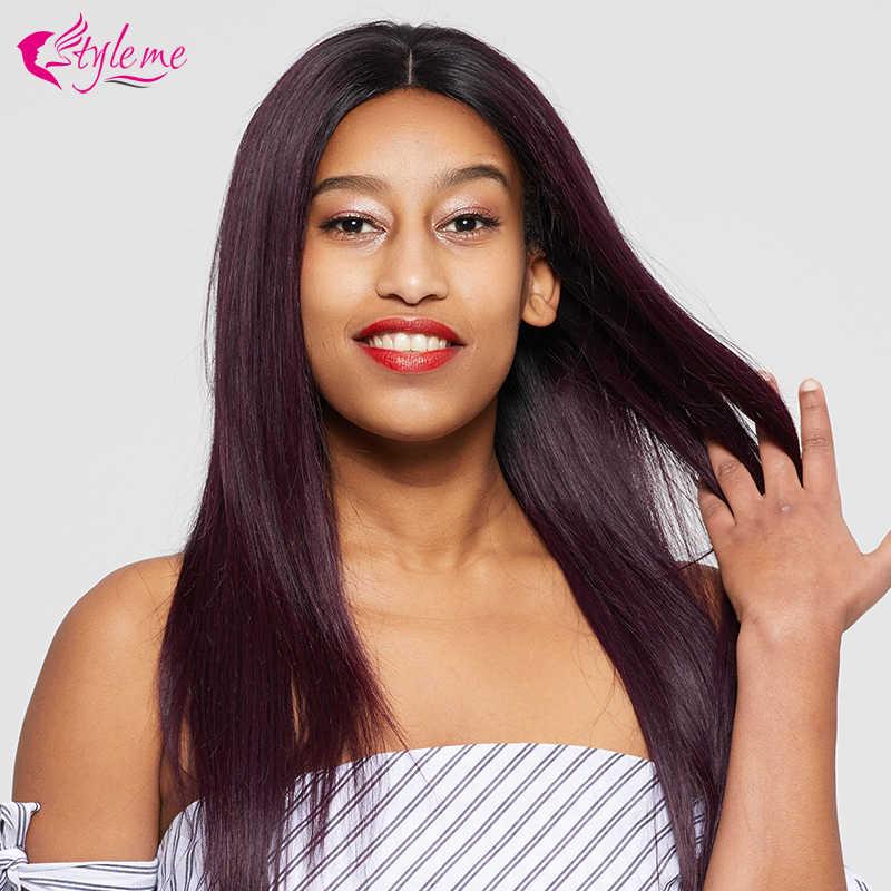 Estilo Me Pre desplumado Ombre 1B/púrpura Peluca de pelo lacio brasileño para mujeres negras pelucas de cabello humano frontal de encaje bob con pelo de bebé