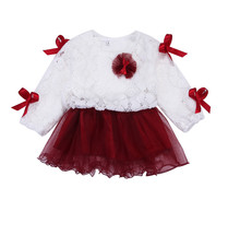 Cute Lace Tutu Bowknot Dress Newborn Baby Girls Kids Princess Long Sleeve  Flower Party Dresses Pink Purple Red Ball Gown Dress 9c51543503ef