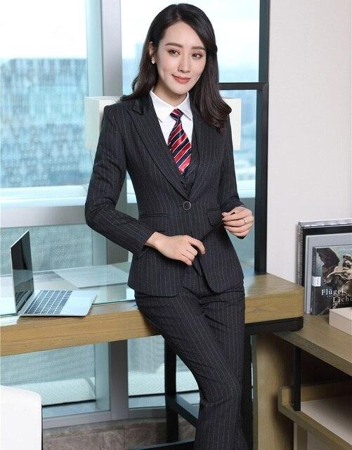 2e6a61b553bc Eleganti per Donna Nero A Strisce Blazer Donne Work Wear Vestiti con  Pantaloni e Giacca Set