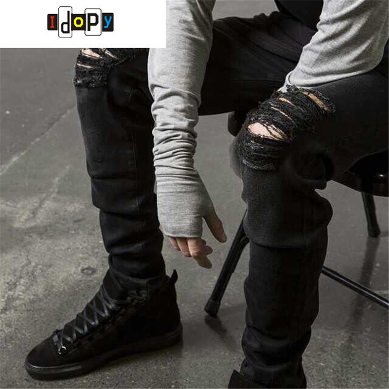 Swag Mens Designer Brand Black Jeans Skinny Ripped Destroyed Stretch Slim Fit Hop Hop Hop տաբատ տղամարդկանց անցքերով
