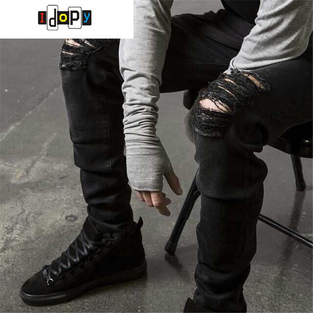 498835f0789 Swag Mens Designer Brand Black Jeans Skinny Ripped Destroyed Stretch Slim  Fit Hop Hop Pants With Holes For Men
