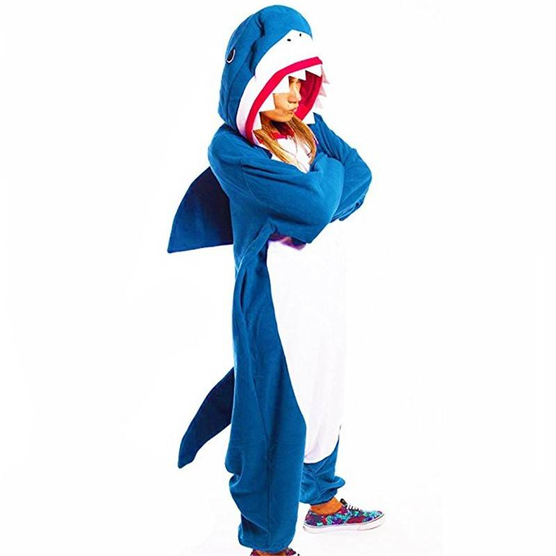 Shark Kigurumi Pajamas Onesie For Adults Animal Fleece Pajamas Party Navy Bodysuit Cosplay Unisex Sleepwear Halloween Pyjamas