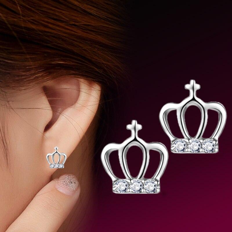 Girls Crown Crystal Ear Studs 925 Sterling Silver