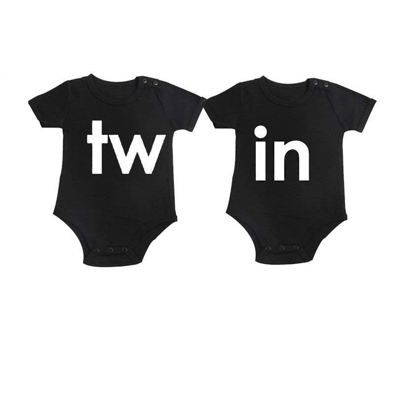 Culbutomind Black Twins Outfit Dobbelttrykt Kortærmet Bomuld Baby Boy Girl Twin Matchende Baby Bodybukser Twins Infant Jumpsuit