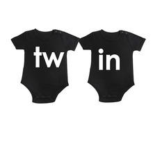 Culbutomind Black Twins Outfit Twin Printed Short Sleeve Cotton Baby Boy Girl Twin Matching Baby Bodysuits Twins Infant Jumpsuit