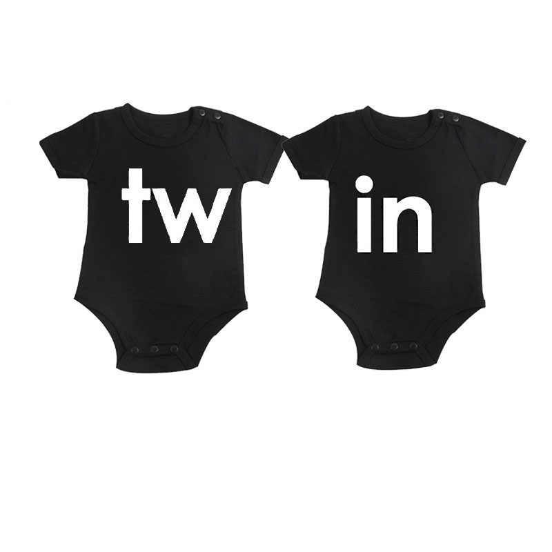 Culbutomind/черная одежда для близнецов, хлопковые боди с короткими рукавами и принтом близнецов для близнецов