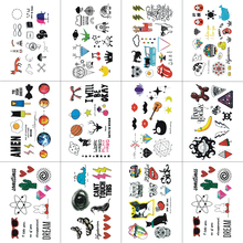 TCOOL 12 PCS Cartoon Temporary Tattoo Sticker для детей Мода Body Art Kids Водонепроницаемая рука Fake Tatoo 10.5X6cm W12-16