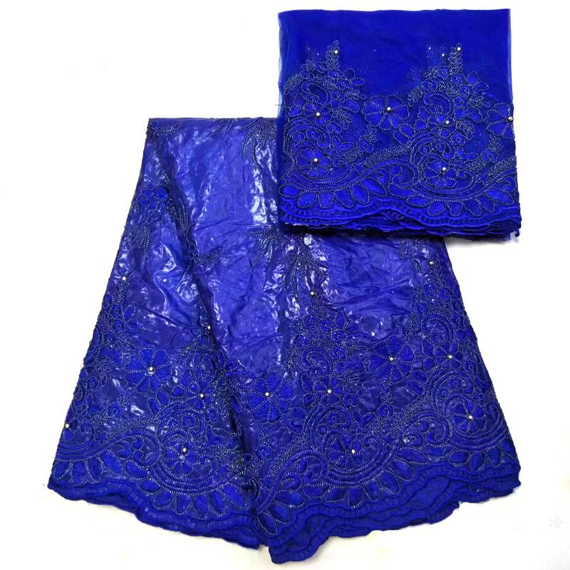 Ultime Africano bazin riche tessuto 5 yards di alta qualità bazin riche getzner con perline in Royal blue per la cerimonia nuziale del vestito NJR 02-in Pizzo da Casa e giardino su  Gruppo 1
