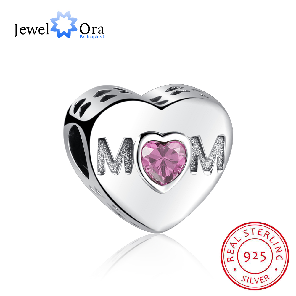 Heart Shape Hollow Moms Gift 925 Sterling Silver Jewelry Components DIY Beads Charm For Bracelets & Bangles(JewelOra AS101603)