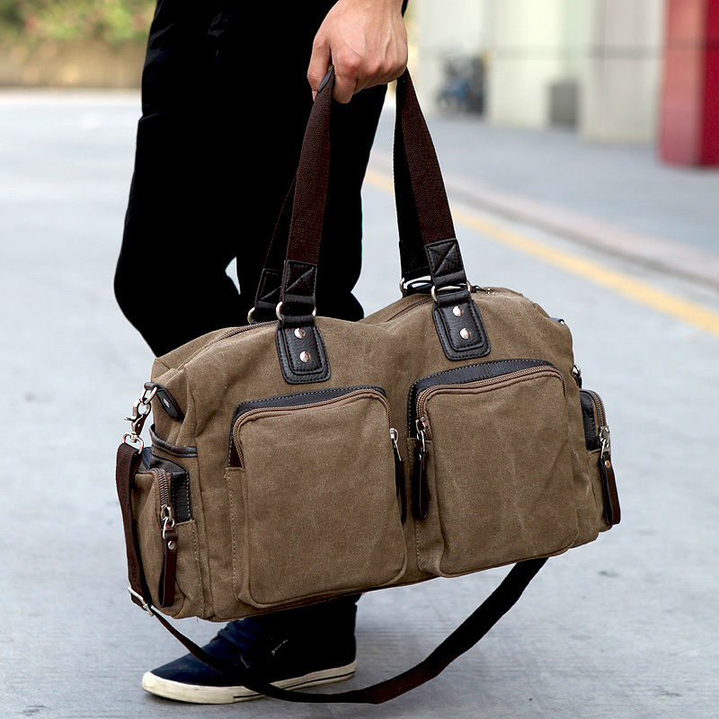 New Fashion Military Canvas Men Luggage bag Canvas Men Travel Bags Large Duffel Bags Weekend bag of trip Overnight carry on-in Travel Bags from Luggage & Bags    1