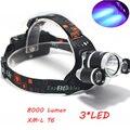 Супер Яркий Ультрафиолетового 8000 Люмен T6 + R5 UV LED Headlight Фар Фонарик Фара 3 Переключатель Охота Фонарик для кампен