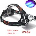 Super Bright Ultraviolet 8000 Lumen T6+2R5 UV LED Headlight Headlamp Flashlight Head Lamp 3 Switch Hunting Flashlight for campin