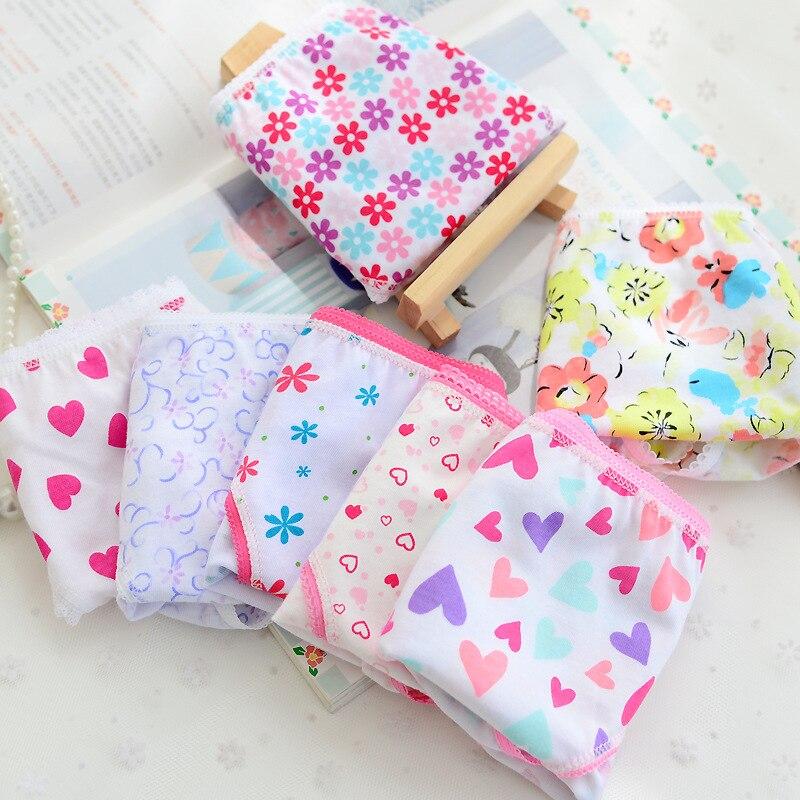 5 pcs/Lot Cotton Briefs Grils Print Children's Underwear Panties 2-12 Years 1