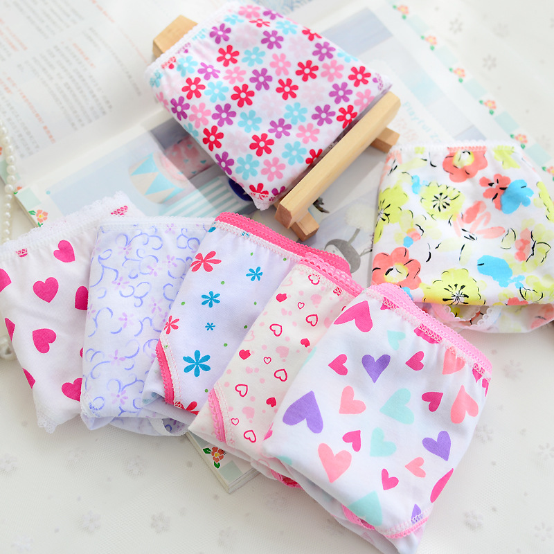 5 Pcs/lot New Candy Colors Mix Styles 100% Cotton Print Children's Underwear Panties For 2-12 Years Baby ATNN0085