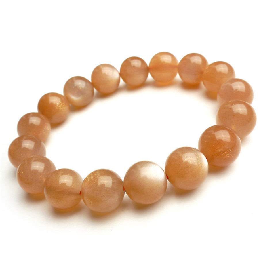 12mm Natural Genuine Sunstone Bracelets For Women Femme Charm Stretch Round Bead Crystal Bracelet Drop Shipping 8 5mm natural zoisite gem stone crystal round bead bracelets for women femme charm stretch bracelet