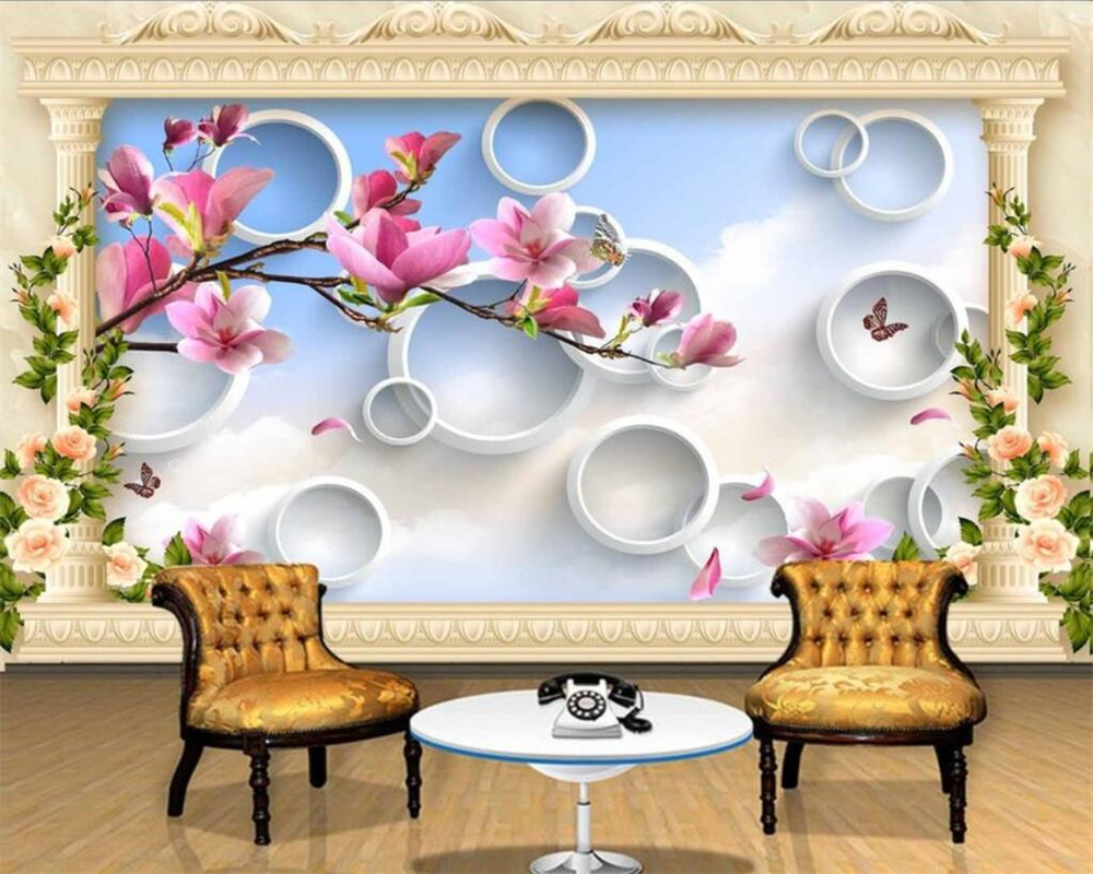 Beibehang Custom Wallpaper Home Decorative Mural 3D Magnolia Reflective Living Room TV Sofa Background Wall mural 3d wallpaper