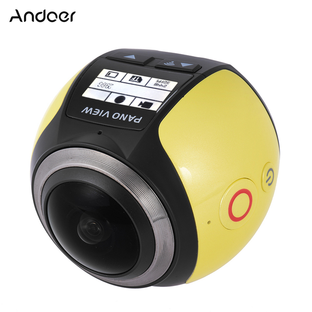 Oversea Stock Andoer V1 360 Panorama Camera Wifi 2448P 16M VR Camera Fisheye Film Source Camcorder Car DVR for Virtual Glasses