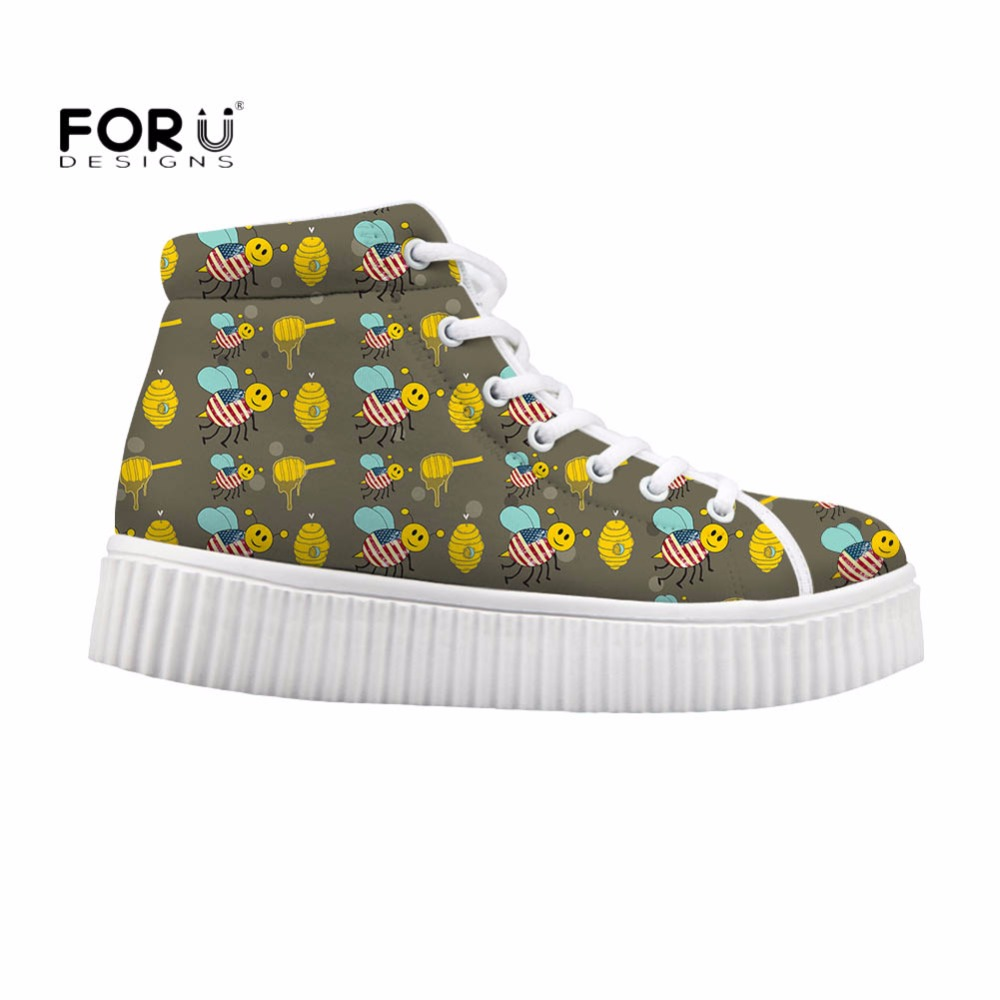 FORUDESIGNS Cute Women High Top Flats Shoes Animal Bee Printed Female Lace-up Wedge Shoes for Women Height Increasing Zapatos forudesigns fashion women height increasing flats shoes 3d pretty flower rose printed casual high top shoes for female platform
