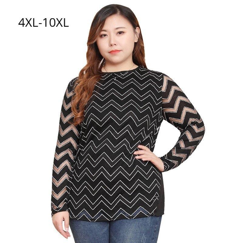 Grande taille 10XL 9XL 8XL 4XL femmes printemps évider manches chemises femmes vagues motif Slim t-shirt femmes lâche t-shirts