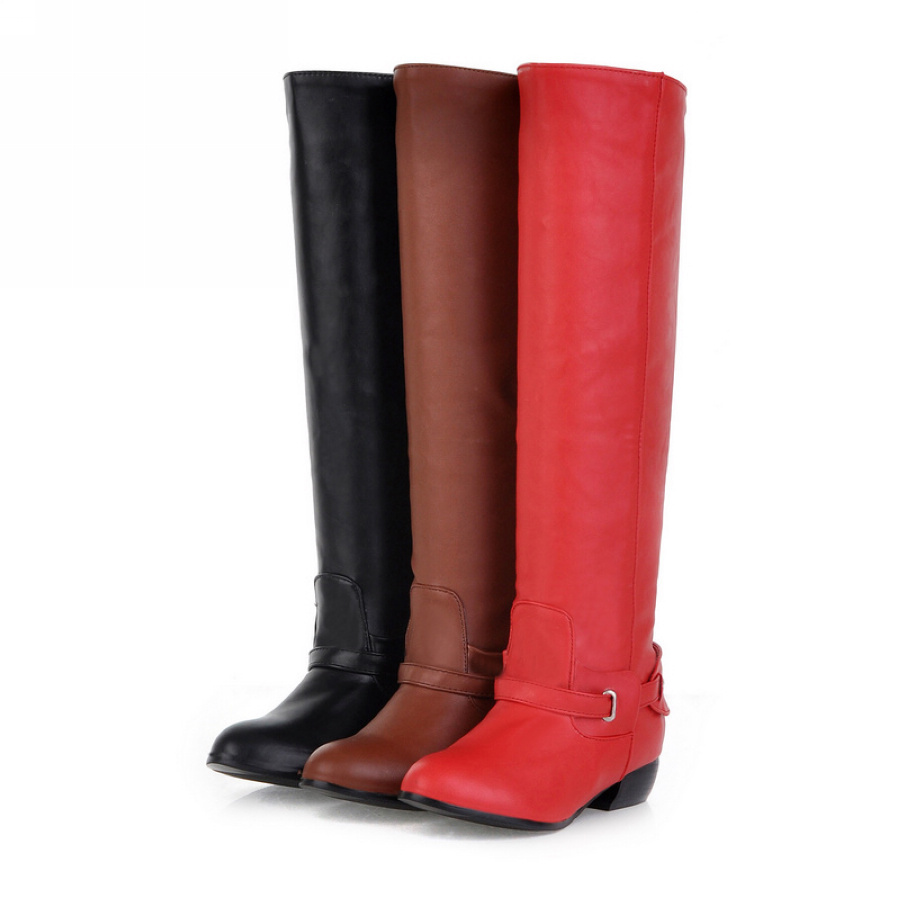 Blackredyellow Womens Boots Fashion Pu Leather Buckle Low Block Heel Knee High Ladies Shoes Us Size 1 145Eu 31 47 B709-In Knee-High Boots -9451