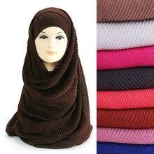 Foulard Hijab plissé froissé pour femmes, grande taille, châle enveloppant pour la tête musulmane, couleurs unies, 180cm x 90cm