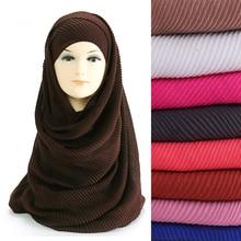 Kích Thước lớn 180 cm * 90 cm Xếp Li Crinkle của Phụ Nữ Khăn Hijab Hồi Giáo Đầu Quấn Khăn Choàng Khăn Choàng Màu Sắc Đồng Bằng