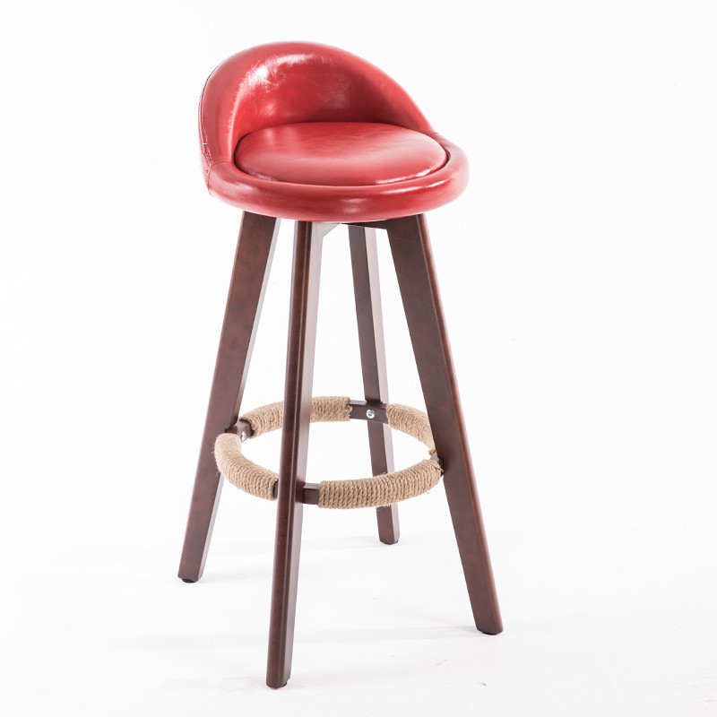 Us 78 0 Wooden Swivel Bar Stool Chair With Leather Seat Back Mahogany Finish Coffee Cafe Kitchen Furniture Height 73cm In Chairs