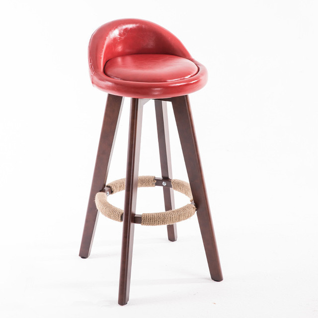 Wooden Swivel Bar Stool Chair With Leather Seat Back Mahogany Finish Coffee  Cafe Bar Kitchen Furniture Chair Stool Height 73cm 86f631a83