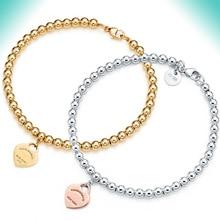 цена на KN tiff 4 MM beads Bracelet Original 100% 925 Sterling Silver Women Free Shipping Jewelry High-end Quality Gift logo 1:1