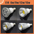 Aluminum Dimmable Led Spot Light 6W 9W 12W 15W E14 COB Spotlight Bulb Lamp High Power White Warm White Lamps AC85-265V Led Light