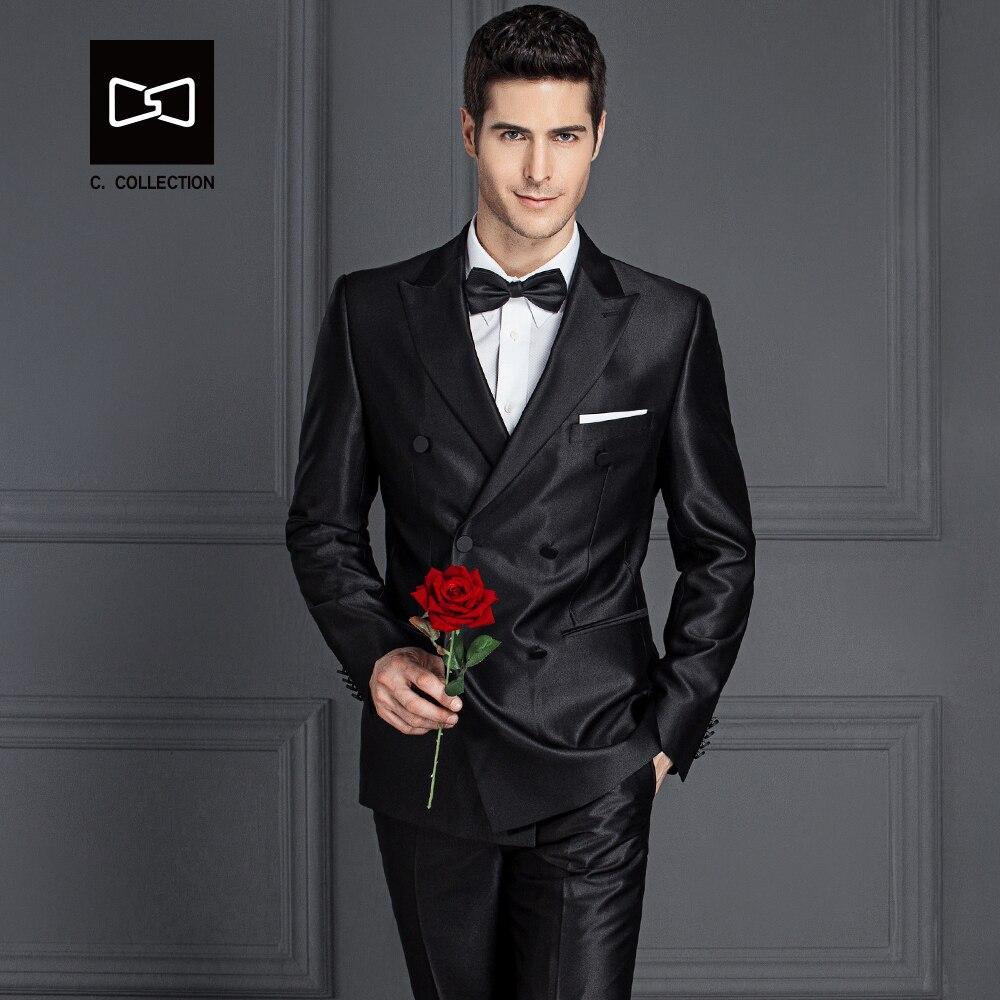 jacke + Hosen Sz160y8 Keine Genial Maßgeschneiderte Männer Zweireiher Schwarz Glänzenden Anzug Slim Fit Hochzeit Anzug Männer Smoking 2 Stücke