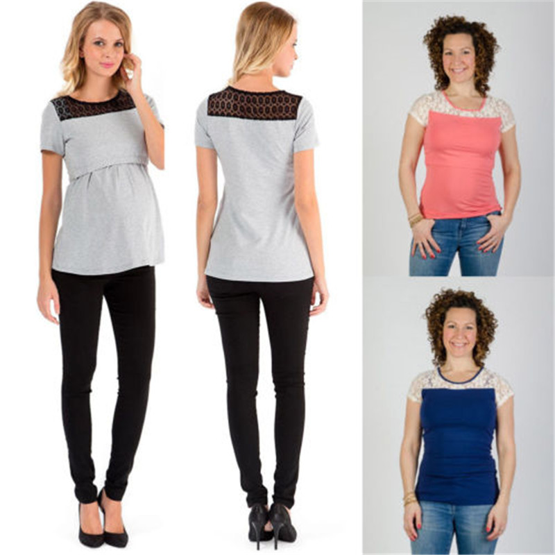 New2018 hot sale pregnant woman breast feeding nurse tops short sleeve round collar joint relaxation shirt