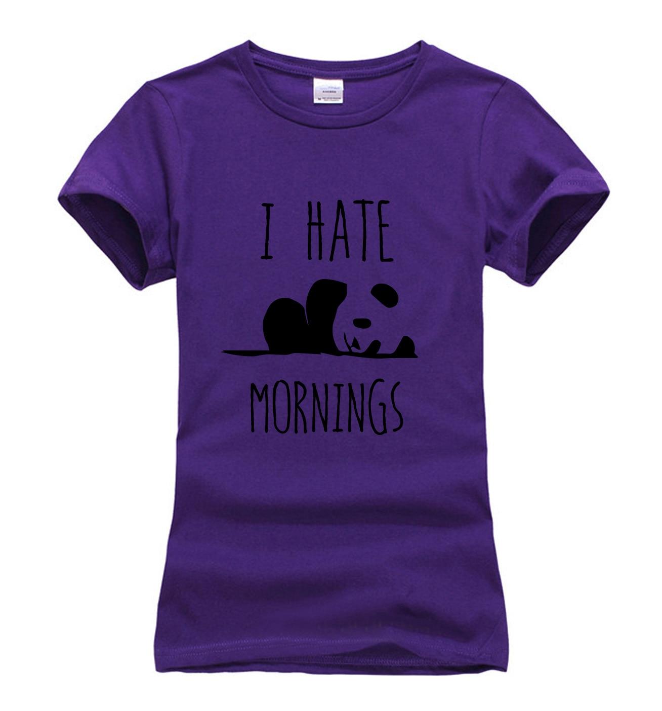 Black t shirt grunge - 2017 Summer I Hate Mornings Panda Print T Shirt Women Brand Tops Harajuku Tee Pink Shirt