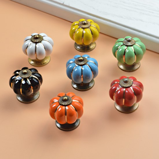 10pcs 40mm Ceramic pumpkins Cabinet Knobs Furniture Handles Dresser Drawer Handles Door Knob Screw Home Decorating Cane Toppers mtgather 8pcs 40mm clear crystal glass diamond cut door knobs kitchen cabinet drawer knobs screw home decorating