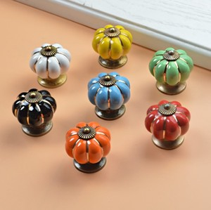 Image 1 - 10pcs 40mm Ceramic pumpkins Cabinet Knobs Furniture Handles Dresser Drawer Handles Door Knob Screw Home Decorating Cane Toppers
