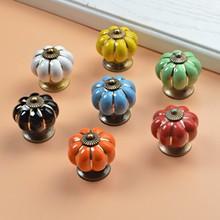Pumpkins de cerámica para muebles perillas de gabinete, manijas, tiradores, cajones, tocador, puerta, tornillo, decoración para el hogar, 10 Uds.