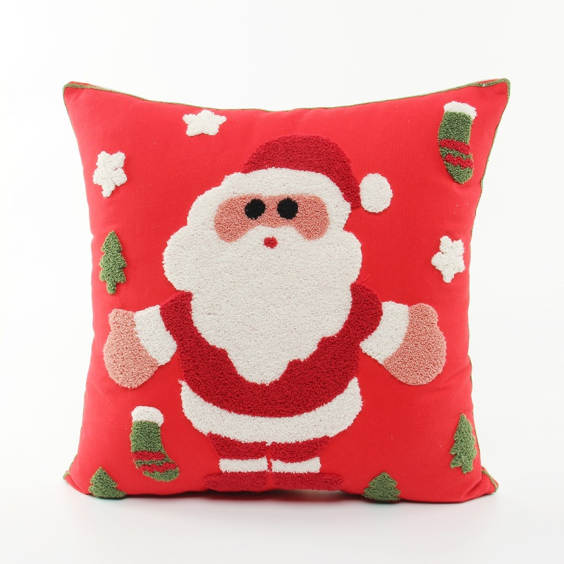 Embroidery Merry Christmas Festival Cushion Cover Embroidered Santa Claus Snowman Snowflakes Cushions Covers Sofa Pillow Case In From Home